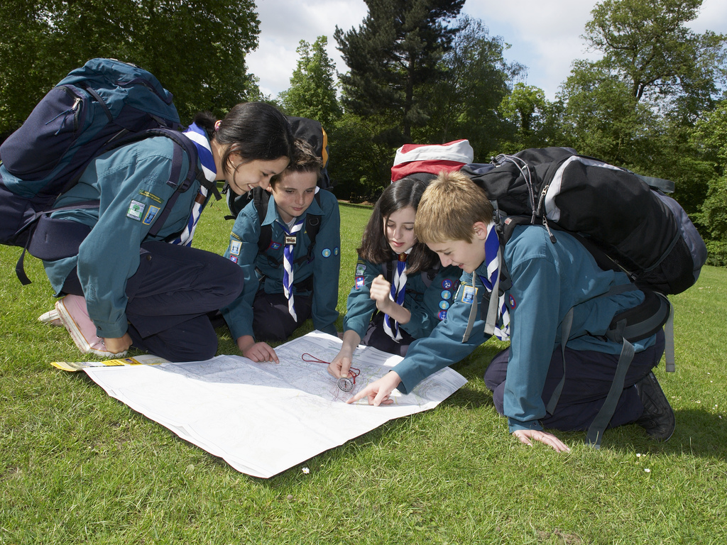 Scouts with map